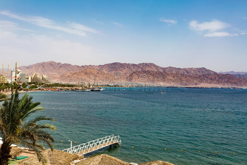 EILAT, ISRAEL - April 5, 2016: Panoramic view on the central beach of Eilat - famous resort and recreational city in Israel stock photography