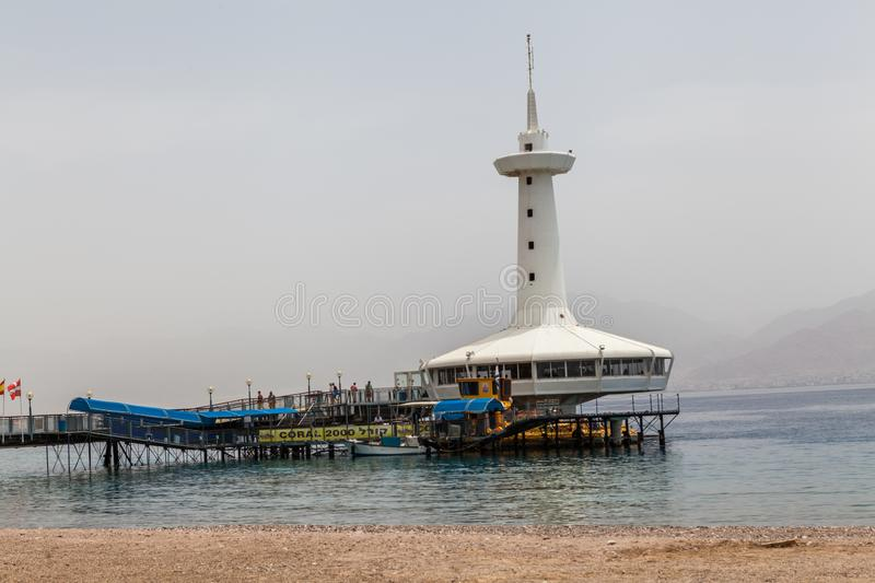Beautiful view of the aquarium. Eilat, ISRAEL - CIRCA MAY 2018: Beautiful view of the aquarium in Eilat circa May 2018 in Eilat royalty free stock photography
