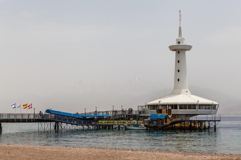 Beautiful view of the aquarium. Eilat, ISRAEL - CIRCA MAY 2018: Beautiful view of the aquarium in Eilat circa May 2018 in Eilat royalty free stock images