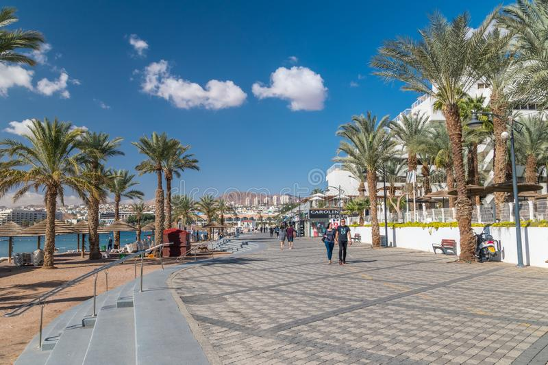 Central beach in Eilat town. Eilat is famous resort and recreation city on Red Sea stock photos