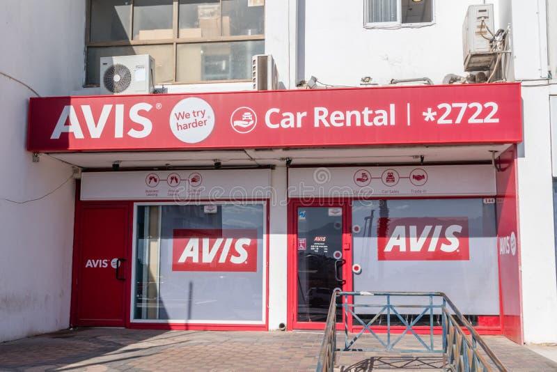Office of Avis in Eilat town. Avis is car rental company stock photography