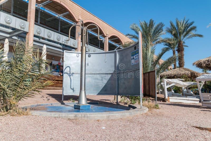 Shower on the beach in Eilat. Eilat, Israel - February 9, 2019: Shower on the beach in Eilat royalty free stock photo