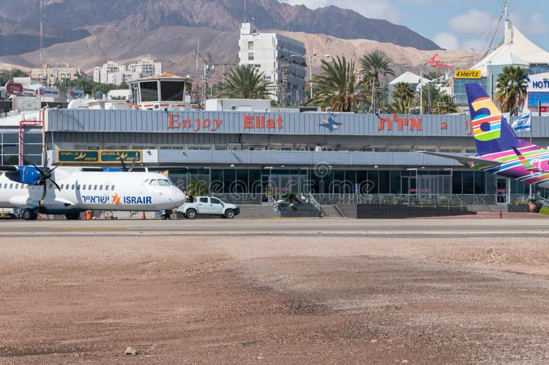 View of Eilat airport. Eilat, Israel - February 9, 2019: View of Eilat airport stock photography