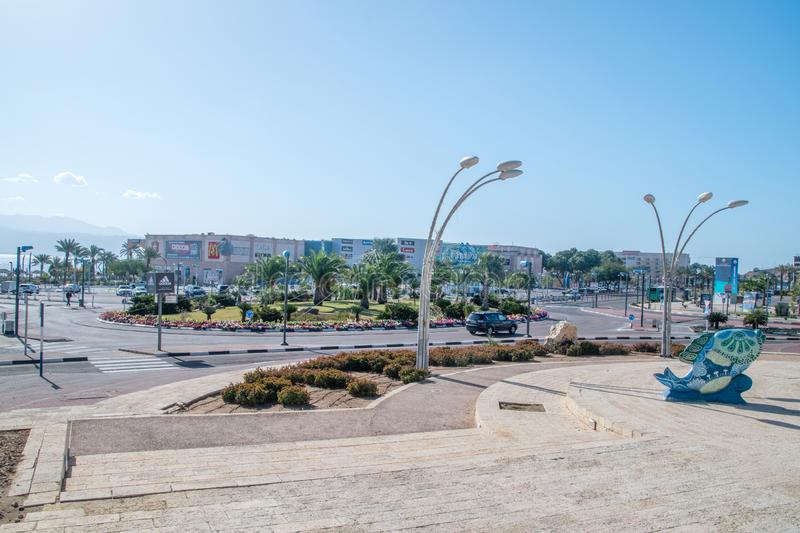 View of Eilat town from Gan Binyamin Central Park stock photos