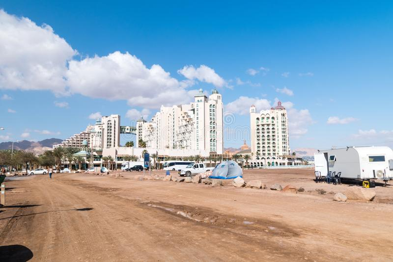 View of five stars hotel Herods Palace from beach near the border with Jordan stock photo