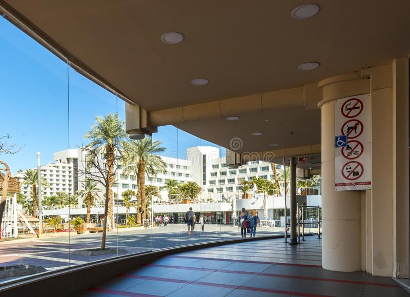 Eilat, Israel - January 15, 2018: Central promenade in Eilat. Eilat is a famous resort city in the Middle East. Here there are many shopping centers located on stock photography
