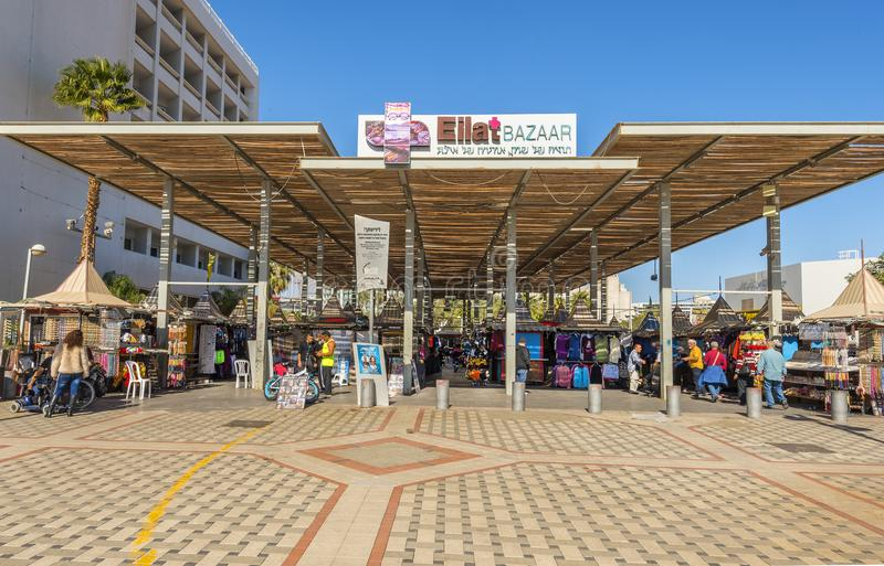 Eilat, Israel - January 15, 2018: Central promenade and market bazaar in Eilat, Israel. Serene day at central marina in Eilat-famous resort city in Israel stock images