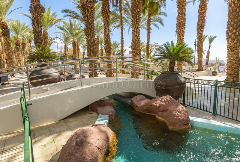 EILAT, ISRAEL - JANUARY 15, 2018: Decorative bridge. The photo was taken in Eilat - famous resort in the Middle East stock images
