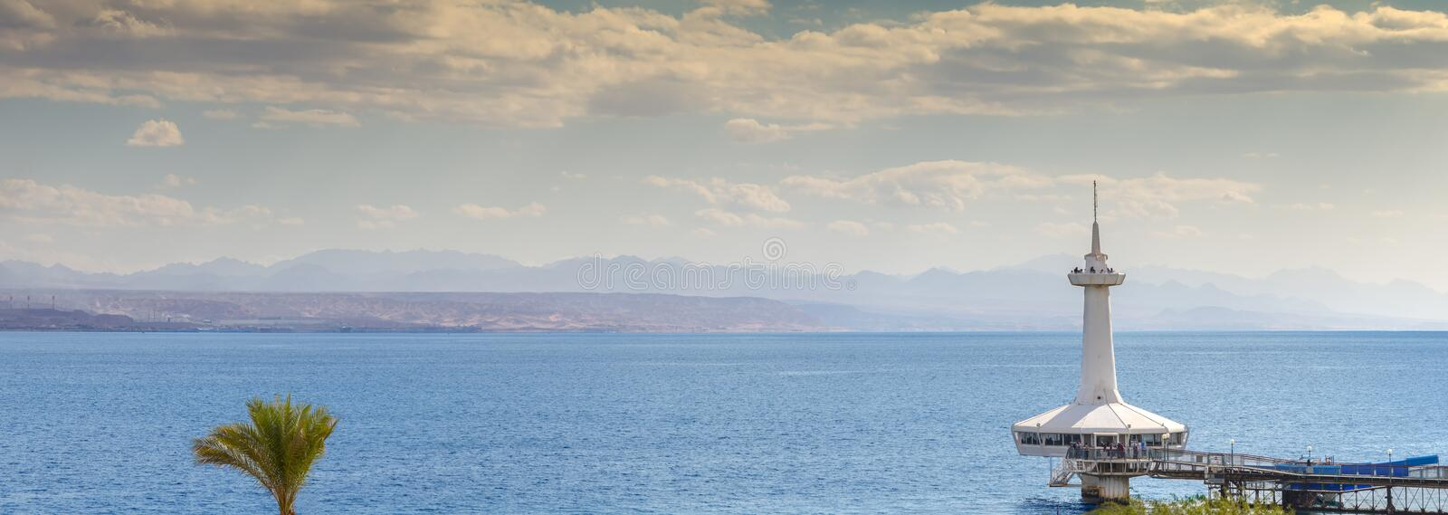 EILAT, ISRAEL - JANUARY 04, 2018: Marine underwater observatory building. Eilat is the southernmost city in Israel with coral beaches and exit to the Indian royalty free stock photography