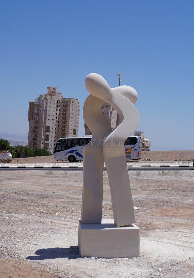 Primitive city sculpture in Eilat. Eilat, Israel - July 8 2018: Primitive city sculpture stands on the street royalty free stock photo
