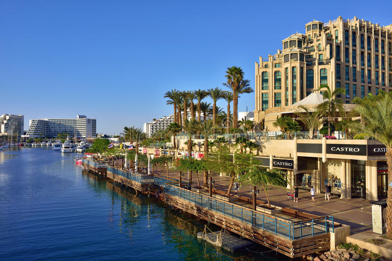 EILAT, ISRAEL. MARCH 31, 2015: Eilat city shown at sunset time, famous international resort - the southest city of Israel royalty free stock photography