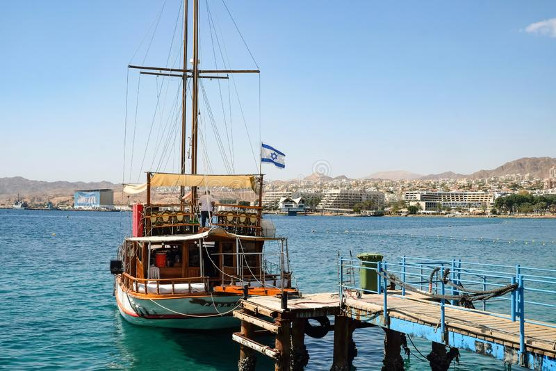 Pleasure yacht at the pier in Eilat stock photography