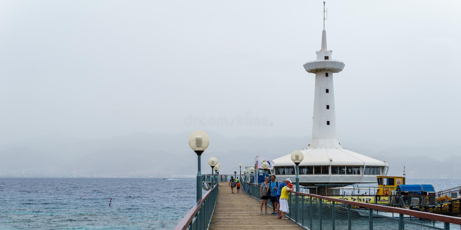 EILAT, ISRAEL - March 28, 2018: The Underwater Observatory Marine Park at a coast near Eilat, Israel. stock photo