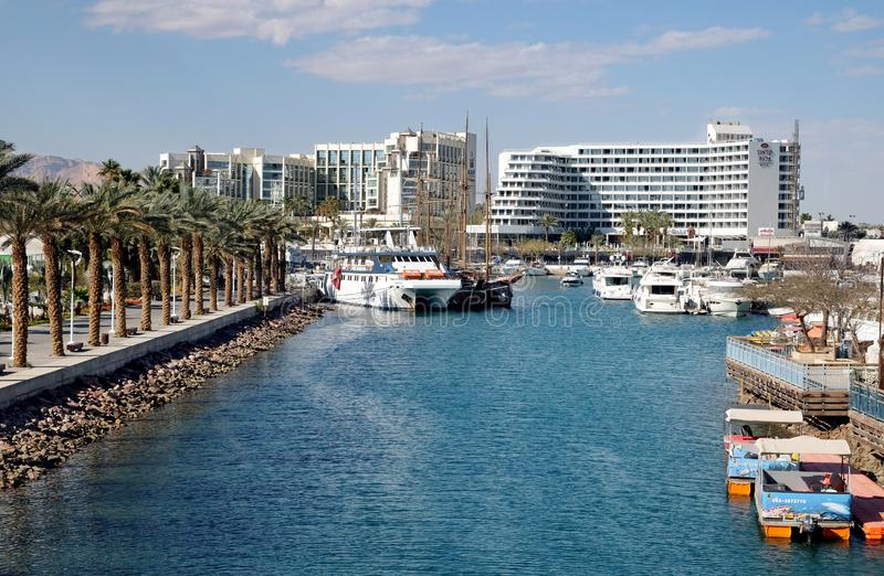 View of the marina in Eilat royalty free stock images