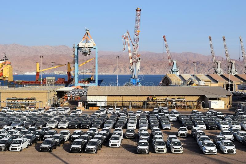 Cargo port and new cars for sale, Eilat, Israel royalty free stock photography