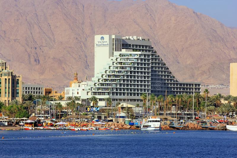 Coastline and luxurious hotels in popular resort - Eilat, Israel. Eilat, Israel - MAY 24 : views of the coastline and luxurious hotels in popular resort - Eilat royalty free stock images