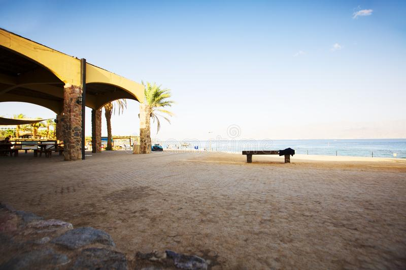 EILAT, ISRAEL - OCTOBER 8, 2017: Coast of the Red Sea Gulf of Eilat. In Israel royalty free stock images