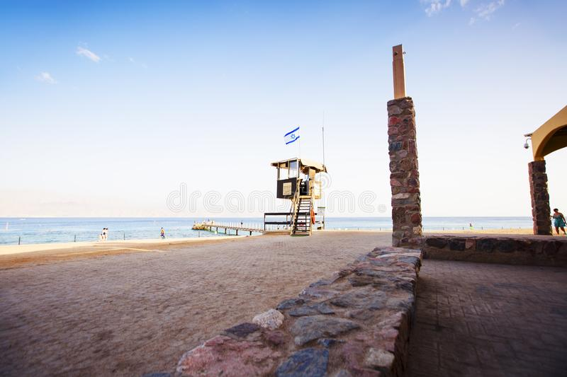 EILAT, ISRAEL - OCTOBER 8, 2017: Coast of the Red Sea Gulf of Eilat. In Israel stock photos