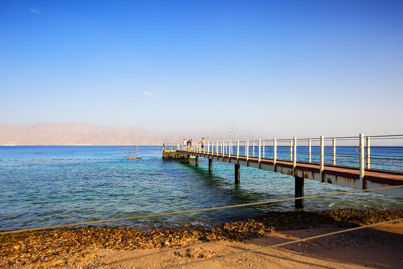 EILAT, ISRAEL - OCTOBER 8, 2017: Coast of the Red Sea Gulf of Eilat in Israel. EILAT, ISRAEL - OCTOBER 8, 2017: Coast of the Red Sea Gulf of Eilat stock photo
