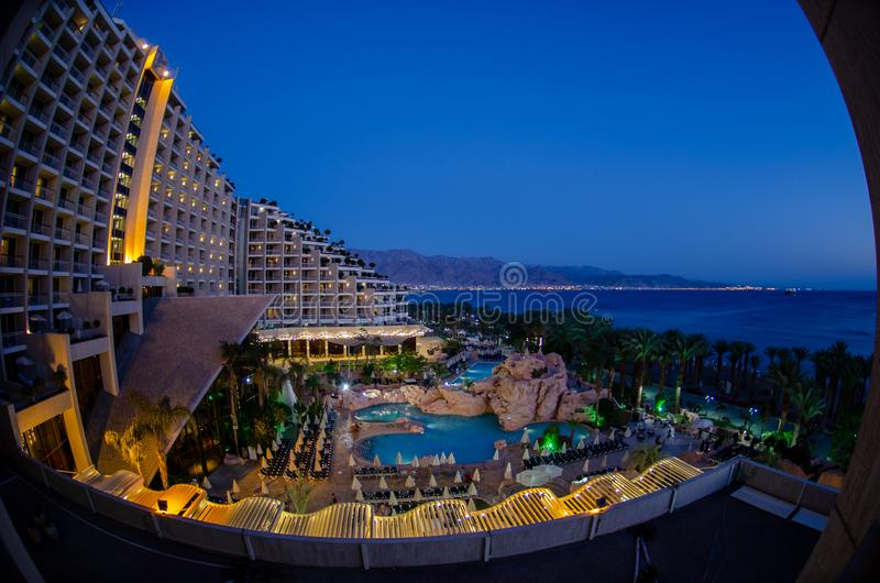 Dan Hotel and Red Sea at blue hour time, Eilat city, Israel stock photo