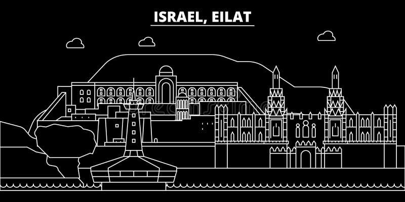Eilat konturhorisont Israel - Eilat vektorstad, israelisk linjär arkitektur, byggnader Eilat loppillustration royaltyfri illustrationer