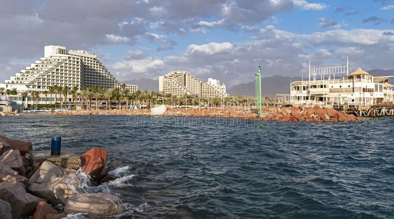 Eilat Lagoon and Hotel Zone in Israel royalty free stock image