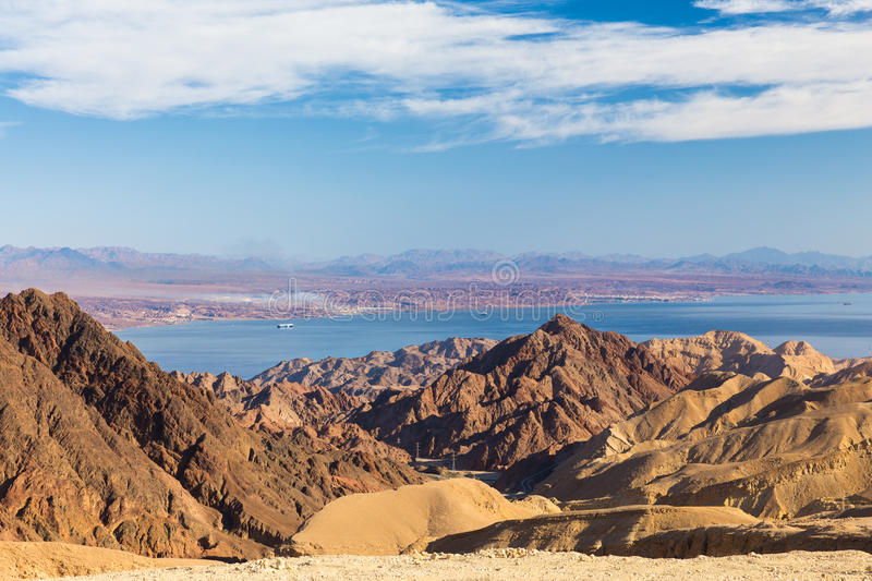 Eilat mountains Red sea. Eilat mountains Eilat bay . Red sea, Israel. Jordanian city Aqaba on the other side. Tourism Middle East. Shlomo mountain peak royalty free stock photos