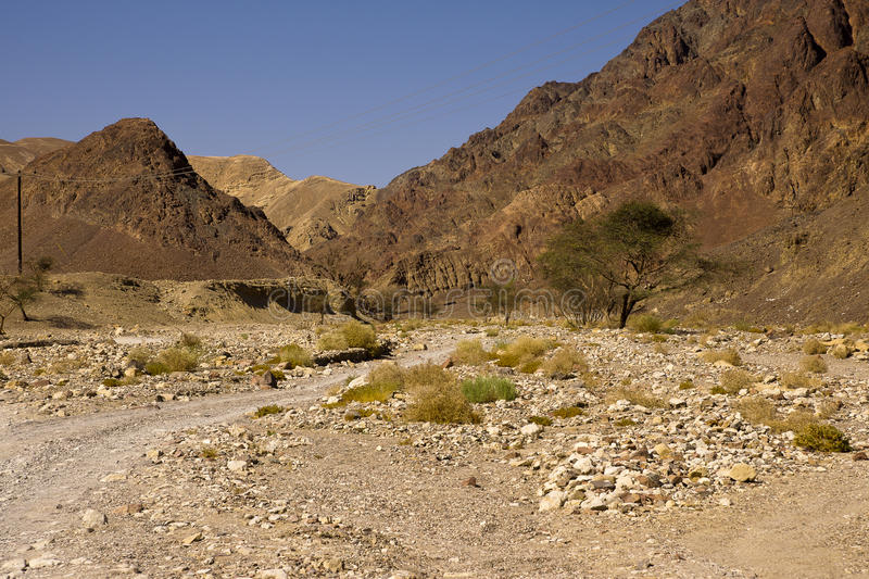 Eilat mountais river Netafim stock photo