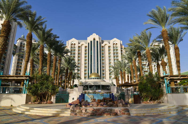 Eilat resort luxury hotels Israel. Eilat is a famous resort and recreation city in Israel located on the Red Sea with luxury hotels royalty free stock photos