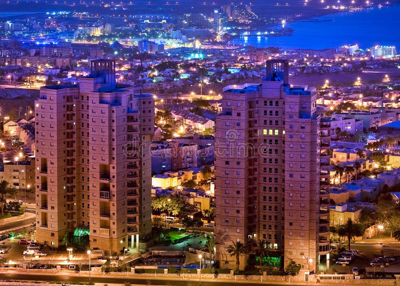 Eilat in the twilight. Eilat is one of the famous resorts in Middle East royalty free stock photos