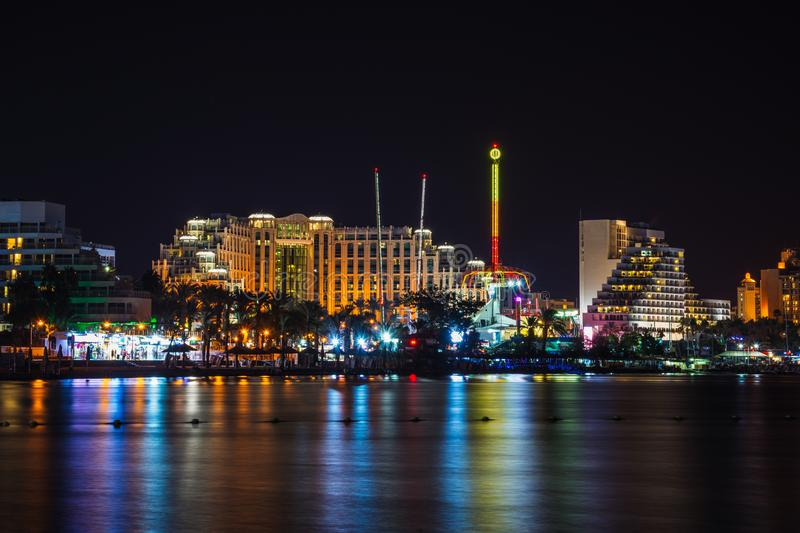 Eilat at warm summer night. During vacation on the Red sea shore in wellknown resort stock images