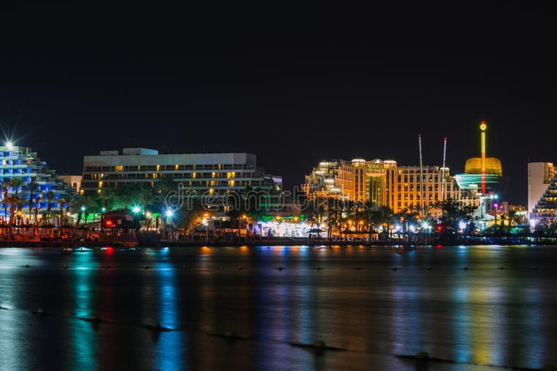 Eilat at warm summer night stock images