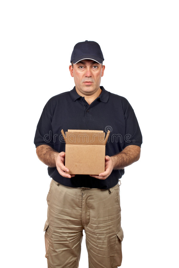 Eilbote, der einen geöffneten Kasten anhält stockfoto