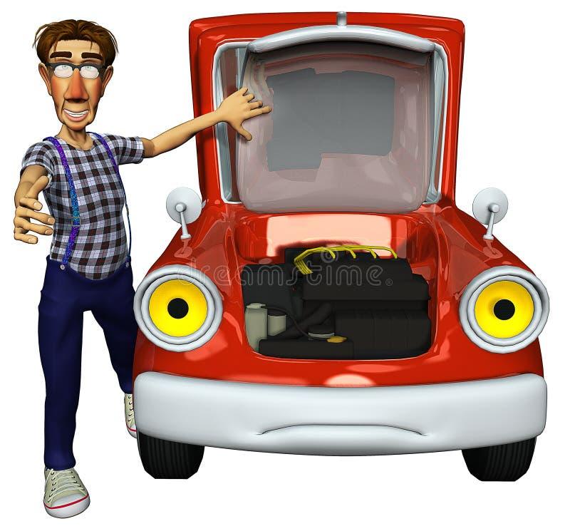 Eilbote des Geschäftsmannes 3d, der das Auto repariert stock abbildung