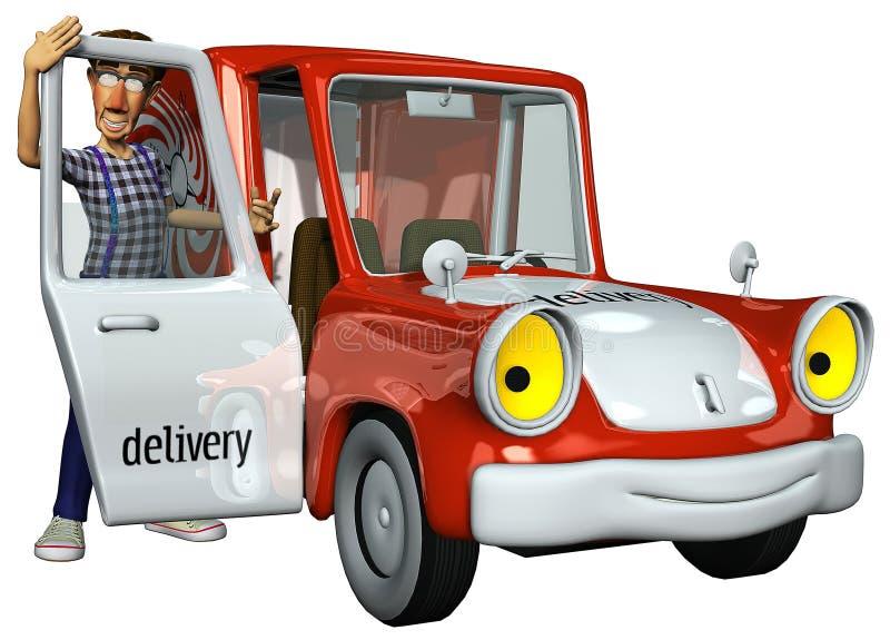 Eilbote des Geschäftsmannes 3d und sein rotes Auto lizenzfreie abbildung