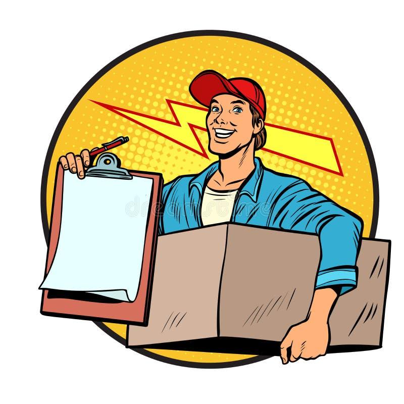 eilbote Lieferung von Paketen und von Post briefträger stock abbildung