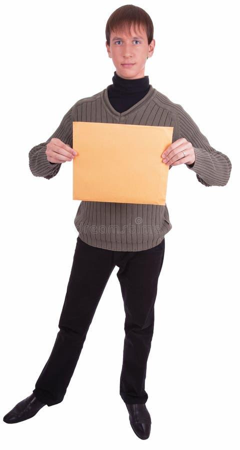 Eilbote mit einem Paket stockfotografie