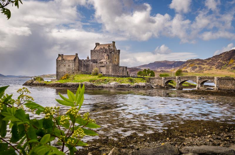 Eilean Donal castle. Scottish landscape. Scotland, Great Britain. Eilean Donan castle, stone bridge. Scottish landscape. Scotland, Great Britain stock photography