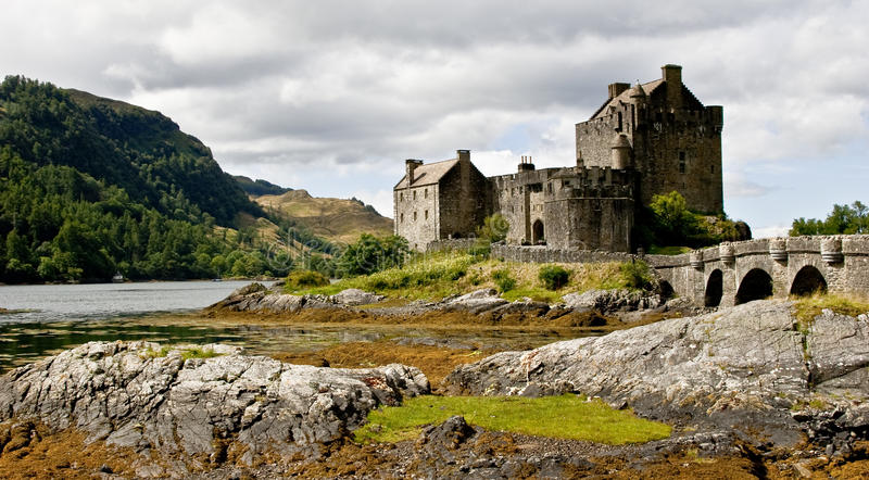 Eilean Donan Castle. Probably one of the most well known Castles in Scotland. Situated at the joining points of Loch Long, Loch Alsh and Loch Duich. Featured in royalty free stock images
