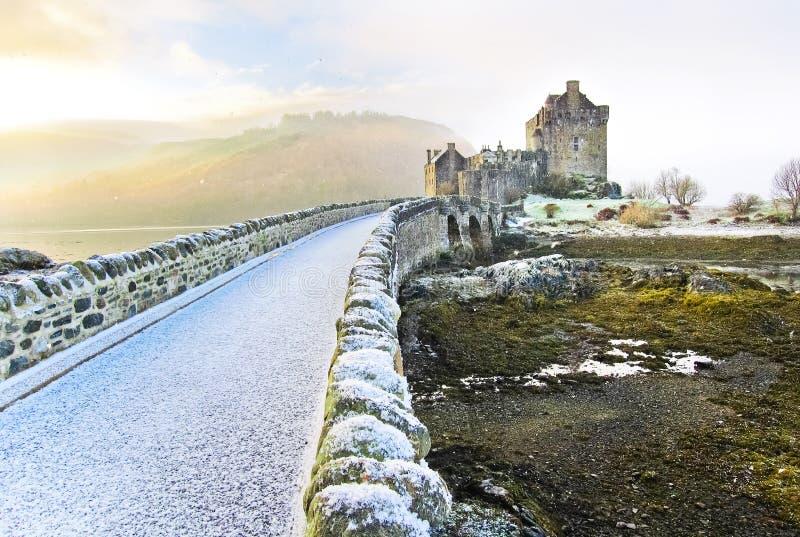 Eilean Donan Castle in de winter royalty-vrije stock foto