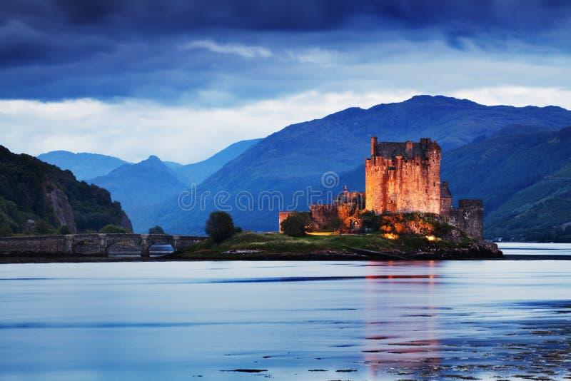 Eilean Donan Castle Panorama. Reflection on Lochalsh. Dornie, Highlands, Scotland. Isle of Skye. Most popular destination. Summer season stock image