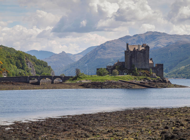 Eilean Donan Castle, Scottish Highlands. View of Eilean Donan Castle on Loch Duich with bridge leading out to the mediaeval castle. The Castle lays at the stock photos