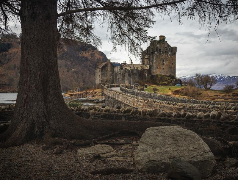 Eilean Donan castle on the shore of Loch Duich. Highlands, Scotland. royalty free stock image