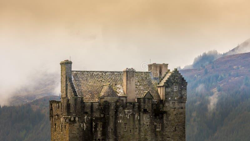 Eilean Donan Castle Sotland landmark Scottish old fortress clouds. Eilean Donan Castle Sotland landmark Scottish old fortress medieval lake bay bridge beautiful royalty free stock photos