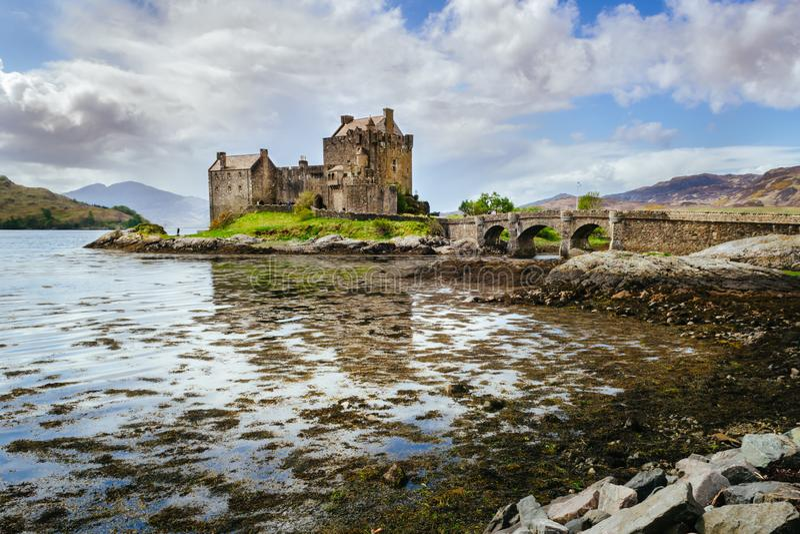 Eilean Donan castle. Scottish landscape. Scotland, Great Britain. Eilean Donan castle, stone bridge. Scottish landscape. Scotland, Great Britain stock image
