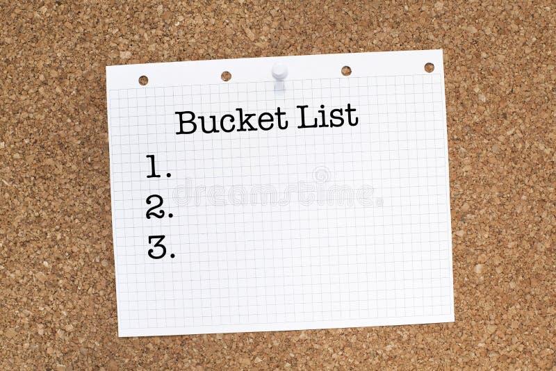 Eimer-Liste stockbild