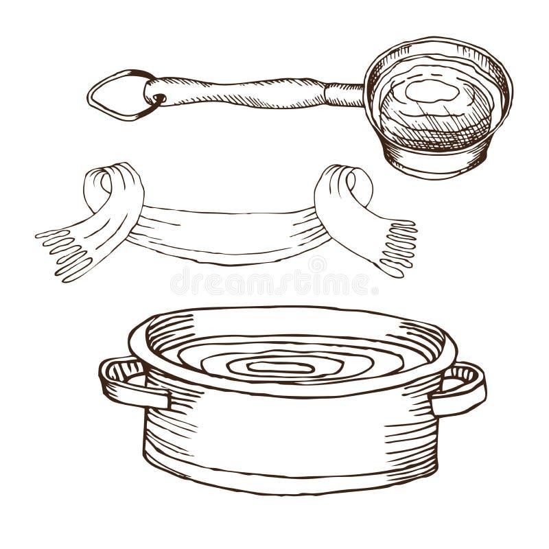Eimer, Tuch, Becken mit Wasser für russisches Bad für Körperhygiene Satz Zubehör für Bad, Sauna Handzeichnung herein lizenzfreie abbildung
