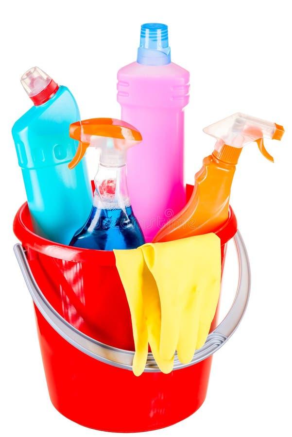 Eimer- und Reinigungsprodukte für Hauptreinigung lizenzfreies stockfoto