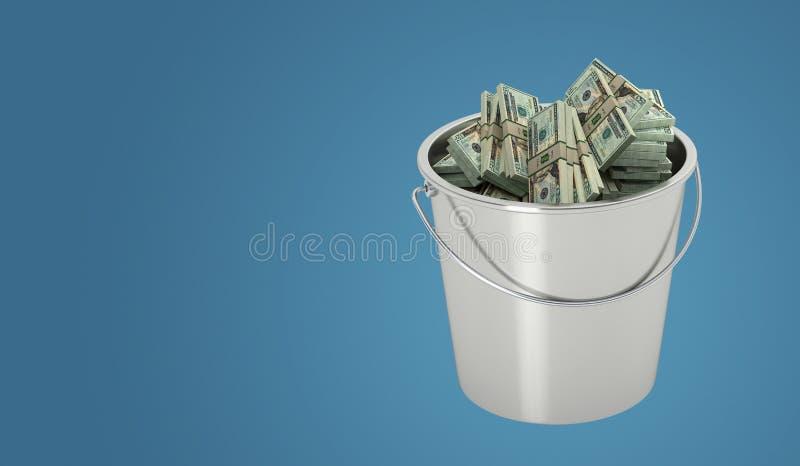 Eimer voll mit 20 Dollar Scheine stock abbildung