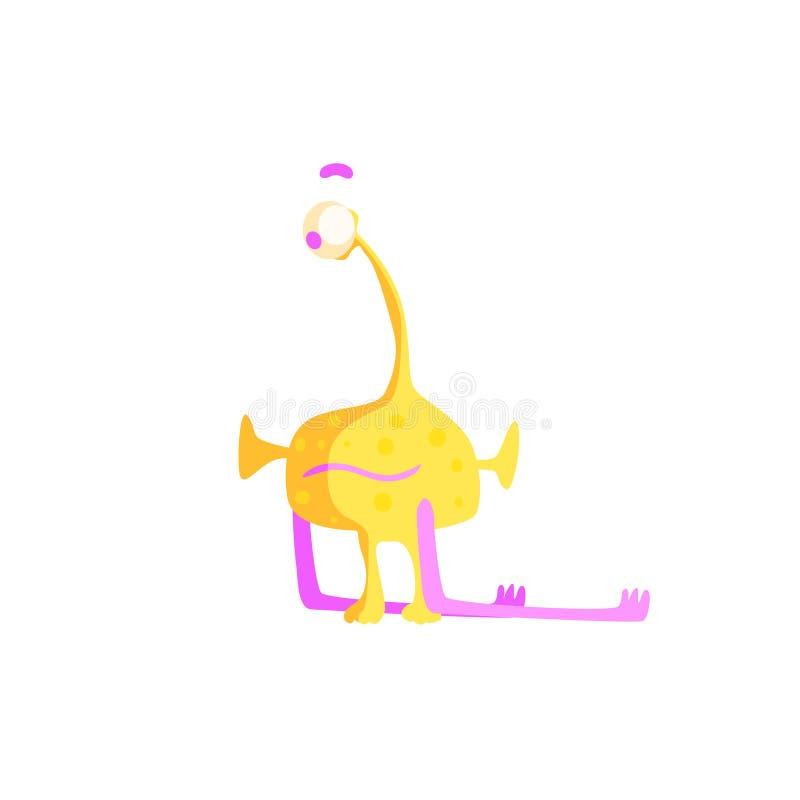 Einäugiges gelbes kindisches Monster vektor abbildung